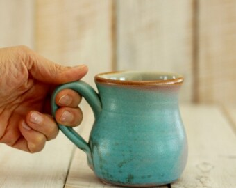 round mug for coffee or tea - turquoise glaze - 14 oz – wood-fired pottery - READY TO SHIP