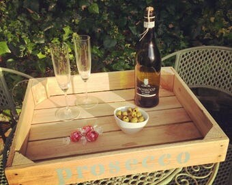 Rustic wedding serving tray, for prosecco, champagne or wine, can be personalised.