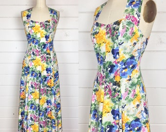 Vintage 1990s Rayon Bright Floral Crossback Sundress / Made by The Limited / Watercolor