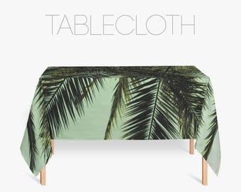 Palm Tree Tablecloth, Tropical Decor, Kitchen Decoration, Fabric Tablecloths, Rectangular Tablecloth, Kitchen Linen, Green Tablecloth