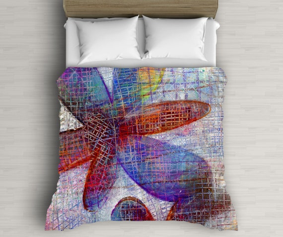 Boho Duvet Cover, Stars Decor, Abstract Art, Duvet Cover Queen, Red And Blue, Bed Decor, Dorm Decoration