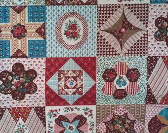 Patchwork Quilt Browns Fabric Panel 34 x 41