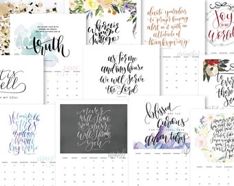 SALE! 2017 Calendar, Christian Bible Verse and Hymn Wall Calendar, Hand lettered Black and White, DIY calendars, 12 Month planner