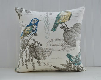 Bird Pattern Pillow Cover | Bird and Air Mail Pillow | Bird Print Pillow Cover | Cottage Pillow Cover