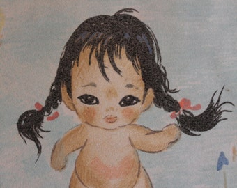 "Native American Toddler by Gerda Christoffersen Vintage Art Pastel Chalk on Velour 11"" by 13"" Lithograph - Baby, Infant"