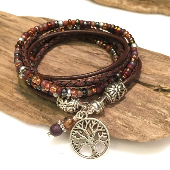 Leather Wrap Bracelet With Charms: BraceletBoho Wrap Bracelet Leather Bracelet Leather Beaded
