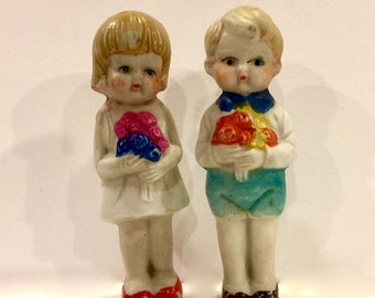 Vintage Bisque Dolls, Boy and Girl, Japan, Frozen Charlotte, Penny Doll, Chubby Cheek, Miniature Doll, 3 5/8 inch, made in Japan Circa 1930s