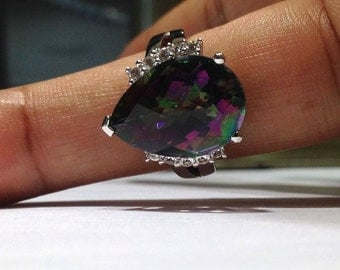 12.00 Carat Mystic Topaz Designer Style Ring in 925 Sterling Silver