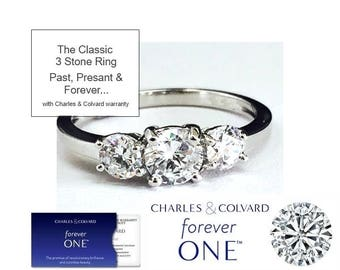 NEW! 1.00 Carat Moissanite Forever One 3 Stone Ring (with Charles & Colvard authenticity card)