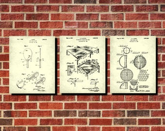 Table Tennis Patent Prints Set 3 Ping pong Posters Games Room Wall Art Rec Room Decor, Ping Pong Blueprints