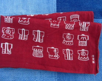 Vintage Japanese Bandana Handkerchief Dark Red Cotton Kimono Print Cotton