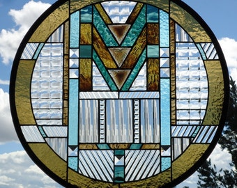 "stained glass window panel""ARTS & CRAFTS""frank lloyd wright style, prairie style, mission style,craftsman style,stained glass sun catcher"