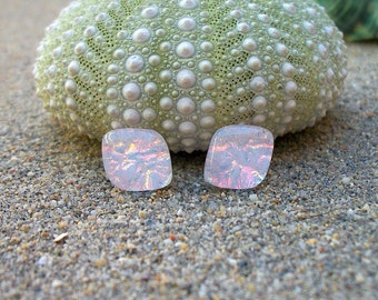 Pretty Pink Dichroic Glass Stud Earrings