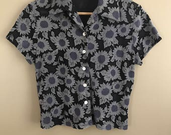 Vintage 90s Jonathan Martin Sheer Floral  Cropped Button Up Collared Blouse