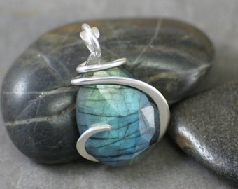 Faceted Labradorite Teardtop with Blue Flash Cold Forged Sterling Silver Pendant