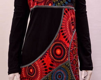 Funky hippy boho patchwork psychedelic floral tunic cotton dress Grey XL 8 10