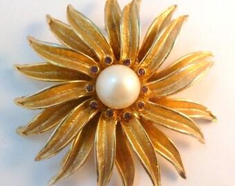 Vintage Large Layered Faux Pearl Flower Sunburst Brooch.
