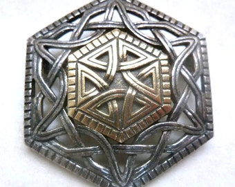 Vintage Hexagonal Shaped Celtic Knot Work Style Brooch.