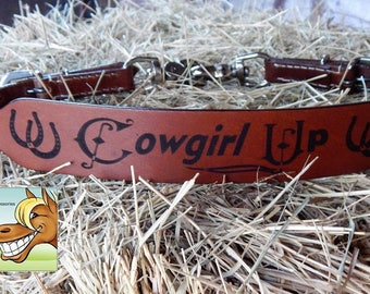 Cowgirl Up Branded Leather Wither Strap Horse Tack Rodeo Barrel Racing Pole Bending Trail Riding Western Equine Breast Collar Helper
