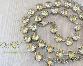 Design Your Own Swarovski 8MM Crystal Necklace, Bridal,  Choose up to 3 colors, Choose your finish, DKSJewelrydesigns, FREE SHIPPING