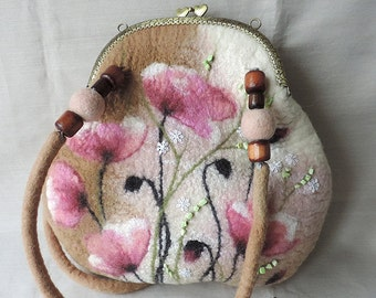 Discount 30% Handmade felted purse, Shoulder bag, Wool frame purse, Felt handbag, Purse with flowers