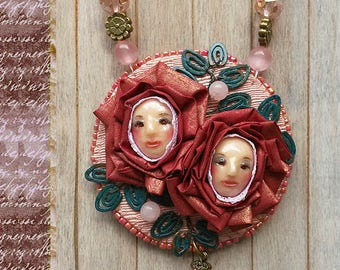3D Pendant, Sculpted pendant, Face pendant, Woman face, Necklace, Flowers jewelry