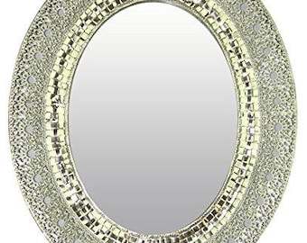 "Oriental Oval Silver Metal Beveled Wall Mirror, 25"" x 20"""