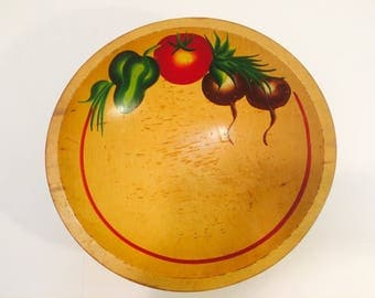 Vintage Mid Century Turned Pine Wood Bowl-Ball Feet, with Hand Painted Vegetables, Retro Woodenware, Rustic Folk Art, Handpainted Vegetables