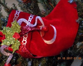 Small velvet red Christmas stocking monogrammed with letter C