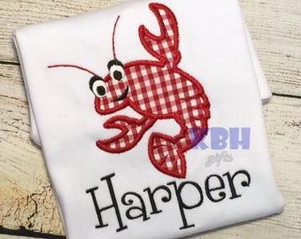 Embroidered Crawfish or Lobster Shirt