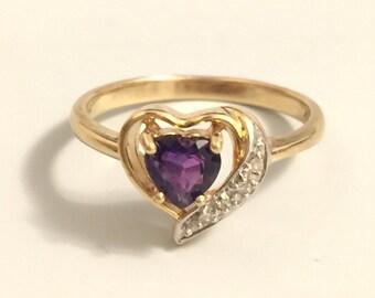 Amethyst Ring, 14k Yellow Gold Purple Amethyst Heart and Diamond Ladies Ring Size 6.5 6 1/2
