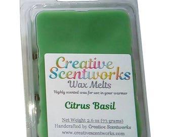Citrus Basil Scented Wax Melt, Wax Cubes, Wax Tart, Wickless Candle, Melting Wax, Wax Melt, Scent Bar, Scent Cube, Wax Bar