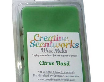 CLEARANCE Citrus Basil Scented Wax Melt, Wax Cubes, Wax Tart, Wickless Candle, Melting Wax, Wax Melt, Scent Bar, Scent Cube, Wax Bar