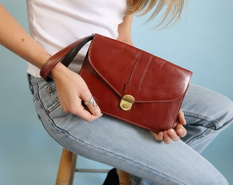 Vintage Brown Leather Clutch with Wrist Strap