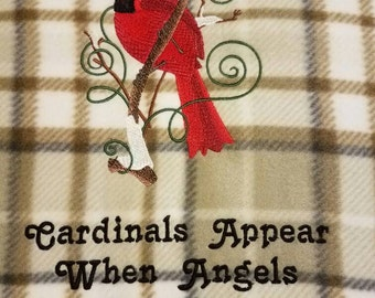 Cardinal Embroidered Fleece Throw