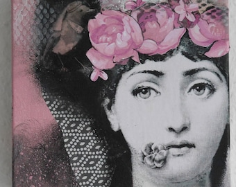 Small acrylic painting, Julia,Fornasetti, rose, white,black, face,women, flowers,bird, collage by Beate Frieling