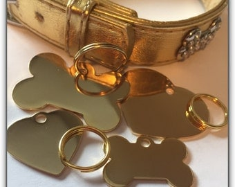 Pet ID Tag Cat Dog - FREE SHIPPING (Canada) engraved free -Gold Plated Heart Bone Keepsake Id Tag- Shipped from Canada