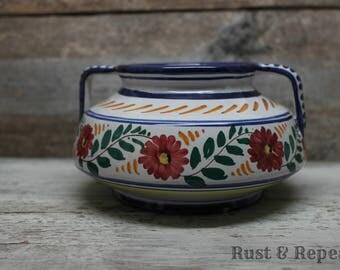 1950s Castelli Perugia Italy Numbered Handled Bowl - Majolica Pottery - Talavera - Italian Pottery - Italian Folk Art - Rust & Repeat