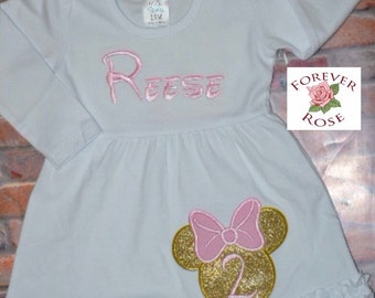 Sale Sale!!Pink and Gold Minnie Mouse Dress/Girl's First,Second Bithday/Pink and Gold Outfit/Minnie Mouse Shirt/ Minnie Mouse party
