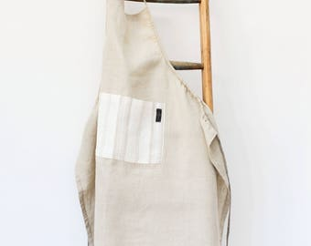 Natural Washed Linen Apron with Tea towel and Rope