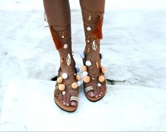 Black  Handmade Gladiator Sandal with Ethnic Fabric braid and charms -Corfu
