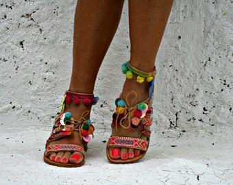 Best seller shoes-Boho style-Gavdos-Pom pom sandals-friendship bracelets-Decorated sandals