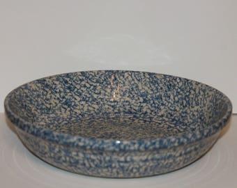 "D3 Large Deep 13"" Pasta Harvest Bowl Spongeware Gerald E Henn Pottery Roseville Ohio The Workshops Freezer Microwave Folk Blue Dishwasher"