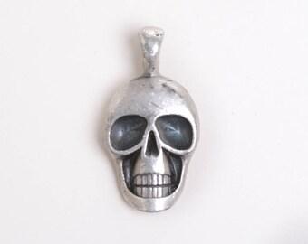 Human skull pendant, tribal skull, skull for him, charms for him, tribal for him