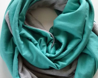 Grey and teal infinity scarf