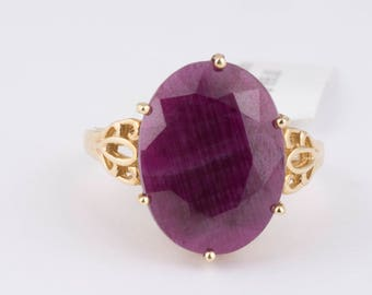 Red Oval Ruby Filigree Solitaire Ring in Yellow Gold