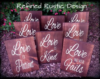 Love is Patient, Love is Kind. Corinthians Set of 8 Painted Aisle Signs. Love Never Fails Wedding Ceremony Signs.