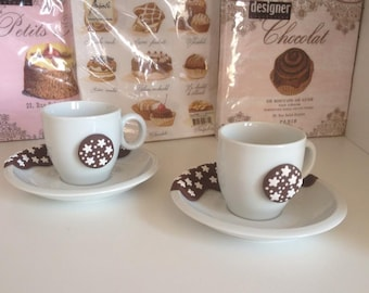 Set of coffee cups with pan di stelle