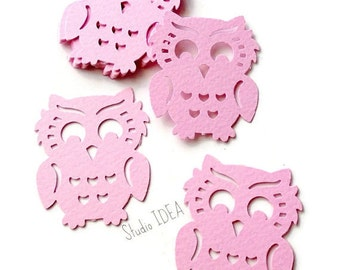 30 Pink large Owl  Cut-outs, Confetti - Set of 30 pcs