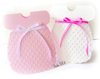 """Pink & White Baby Girl Dress Card - Polka Dots embossed with Ribbon- Dress Card 4""""x3"""" or Choose Your Colors-Set of 12pcs, 24pcs"""